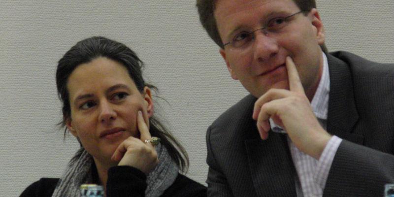 2012: Nina Scheer und Martin Habersaat bei einer Veranstaltung zur Energiepolitik in Glinde